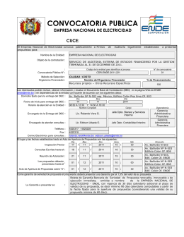 CONVOCATORIA PUBLICA EMPRESA NACIONAL DE ELECTRICIDAD  CUCE: