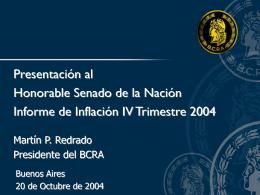 Presentación al Honorable Senado de la Nación Martín P. Redrado