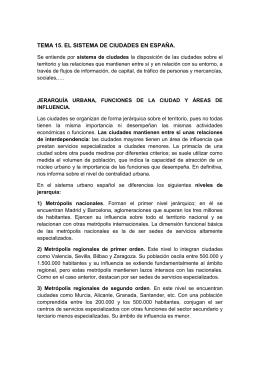 TEMA 15. EL SISTEMA DE CIUDADES EN ESPAÑA.