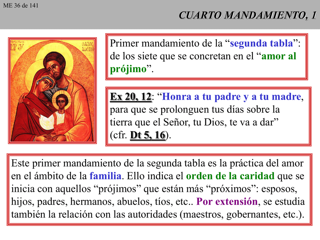 "CUARTO MANDAMIENTO, 1 "": Primer mandamiento de la """