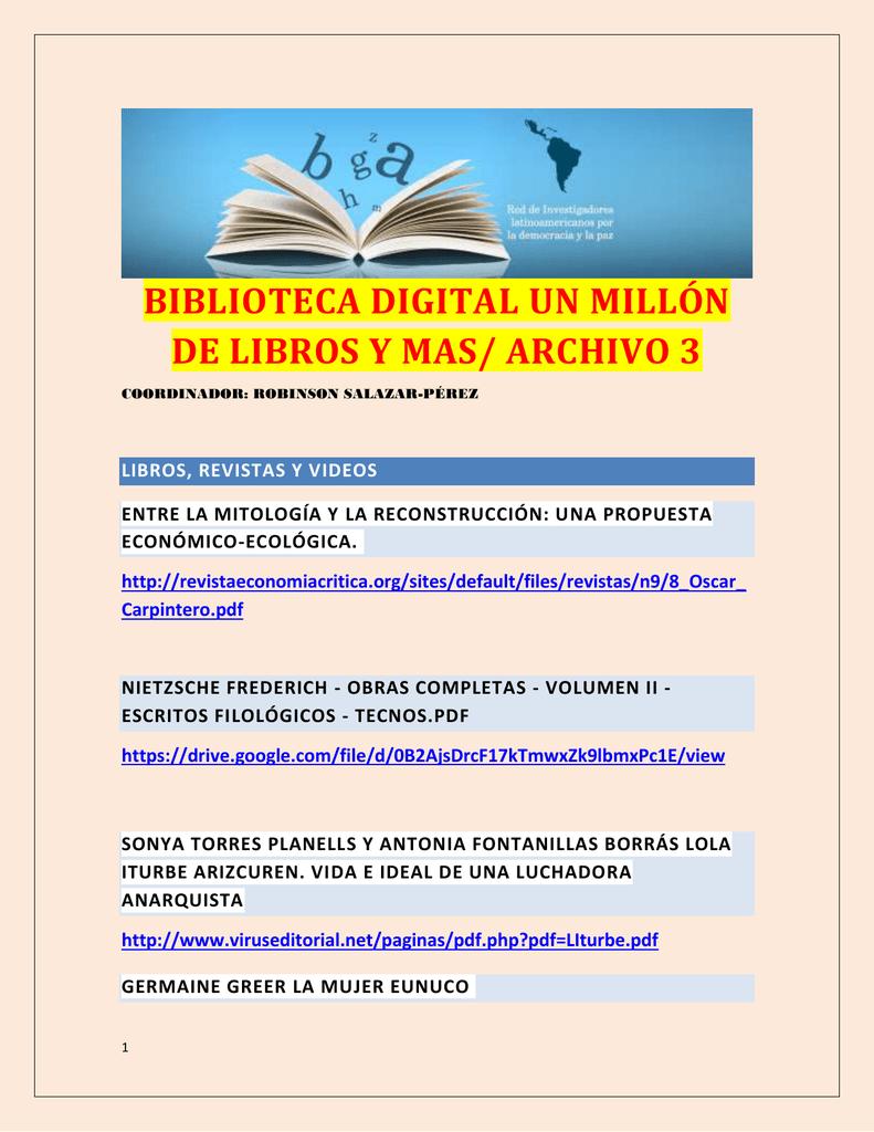 BIBLIOTECA DIGITAL UN MILLON DE LIBROS Y MAS, PARTE 3