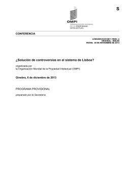 S ¿Solución de controversias en el sistema de Lisboa? CONFERENCIA