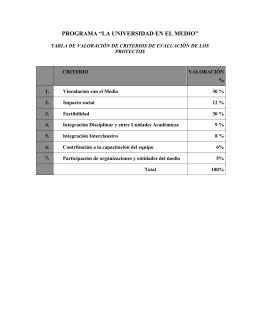 Tabla de Valoración de Criterios de Evaluación