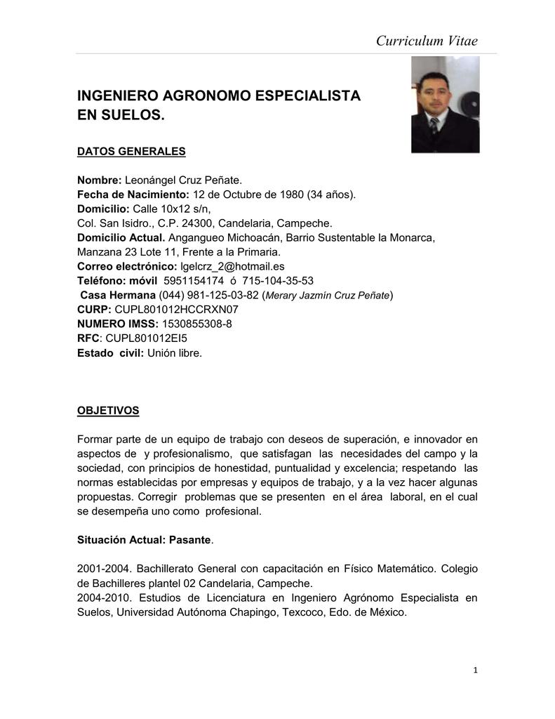 Curriculum Vitae Ingeniero Agronomo Especialista En Suelos