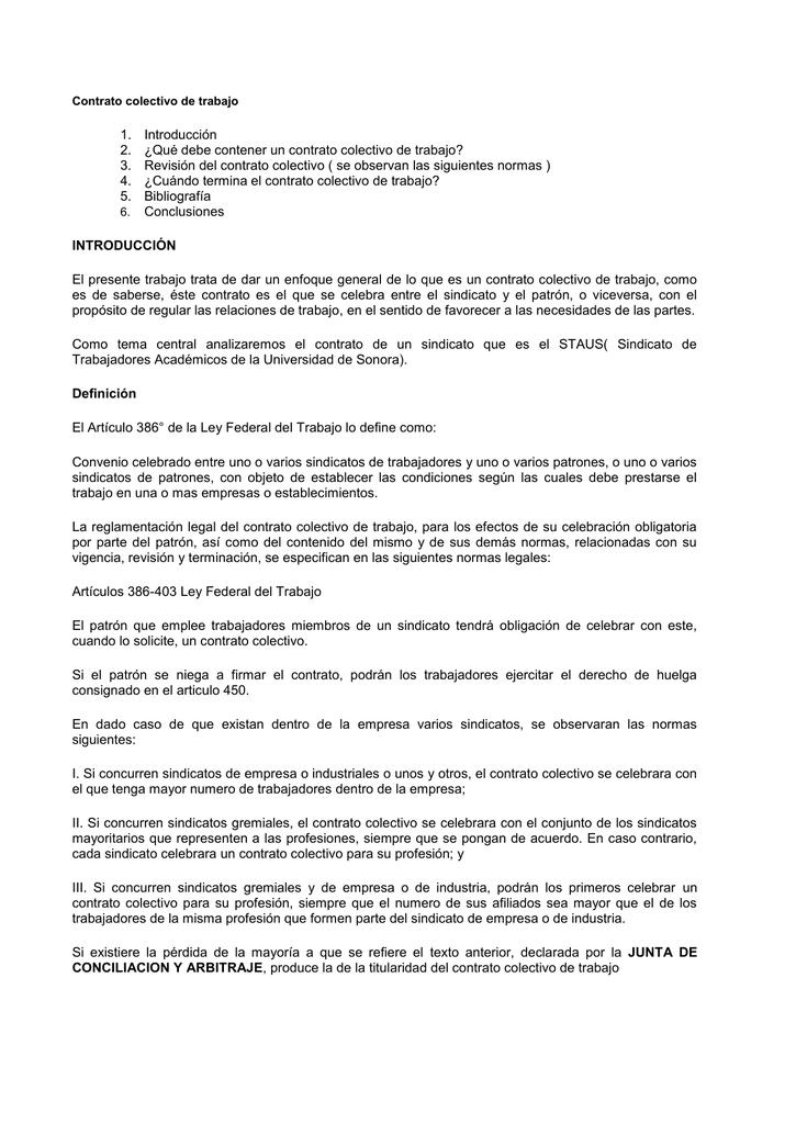 7 1 Contrato Colectivo De Trabajo