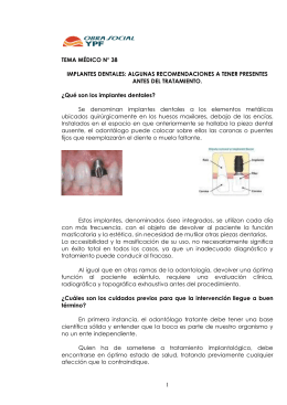 T.M. Nº 38 - Implantes Dentales