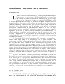 Apéndice III, Teorías del liberalismo y el monetarismo
