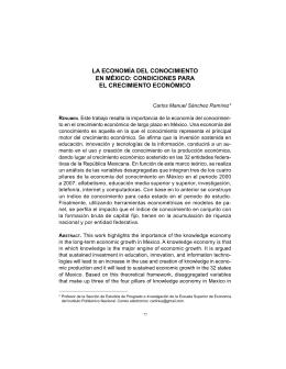 La economía del conocimiento en México. Condiciones para el crecimiento económico