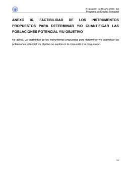 ANEXO IX. FACTIBILIDAD DE LOS INSTRUMENTOS POBLACIONES POTENCIAL Y/U OBJETIVO