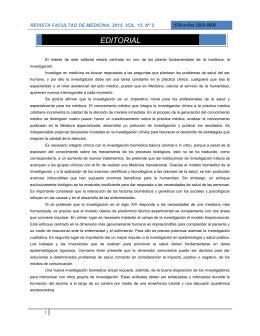 EDITORIAL  REVISTA FACULTAD DE MEDICINA, 2015, VOL. 15, Nº 2
