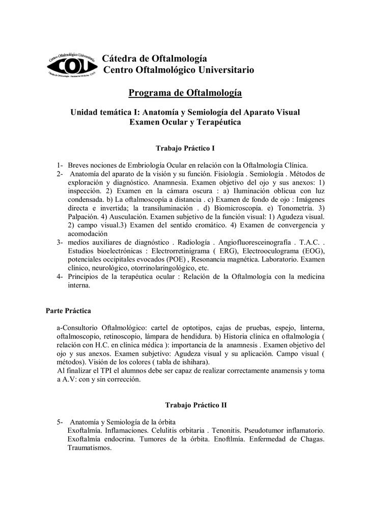 Cátedra de Oftalmología Centro Oftalmológico Universitario Programa ...
