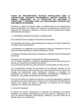 PLIEGO  DE  PRESCRIPCIONES  TÉCNICAS  PARTICULARES ... CONTRATACIÓN,  MEDIANTE  PROCEDIMIENTO  ABIERTO  INFERIOR ...
