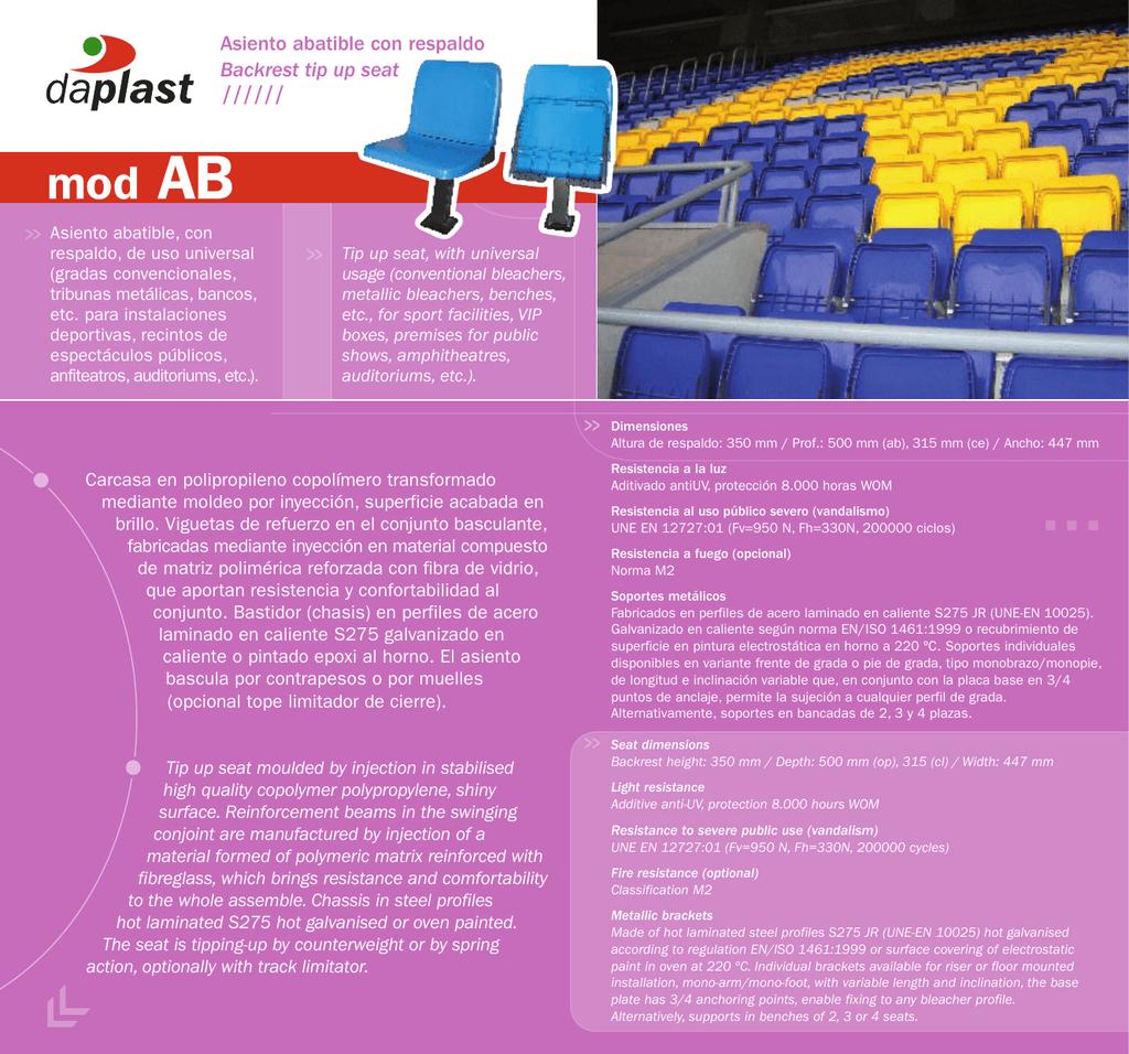 Fichas técnicas asientos abatibles y VIP (PDF)
