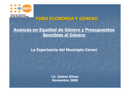 Presentación la Experiencia del Municipio Caroní – Venezuela.