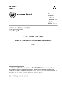 Report of the Working Group of Tonga in Spanish