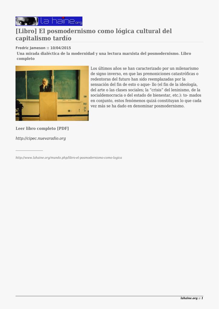 Libro] El posmodernismo como lógica cultural del capitalismo