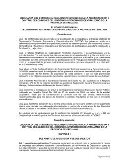 Ordenanza que Contiene el Reglamento Interno para la Administración y Control de los Bienes del Gobierno Provincial