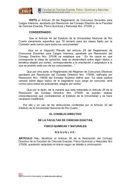 Cargos Interinos, aprobado por Resolución del Consejo Directivo de la... de Ciencias Exactas, Físico-Químicas y Naturales Nro. 270/06, y VISTO
