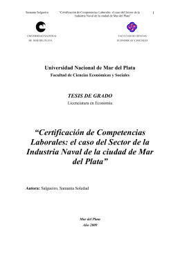 Certificación de competencias laborales: El caso del sector de la industria naval en Mar del Plata