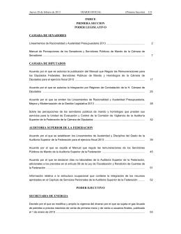 INDICE PRIMERA SECCION PODER LEGISLATIVO CAMARA DE SENADORES