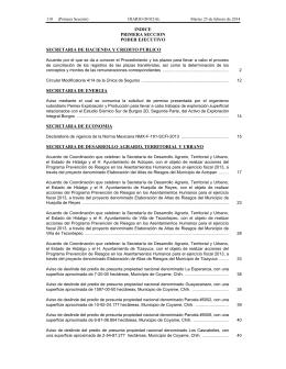 INDICE PRIMERA SECCION PODER EJECUTIVO SECRETARIA DE HACIENDA Y CREDITO PUBLICO