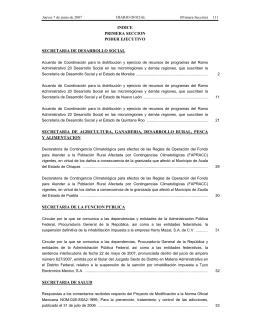 INDICE PRIMERA SECCION PODER EJECUTIVO SECRETARIA DE DESARROLLO SOCIAL