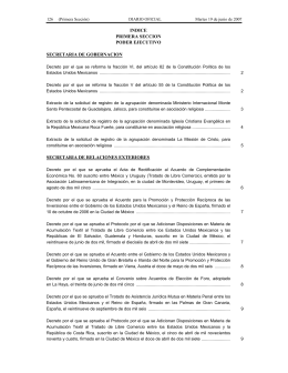 INDICE PRIMERA SECCION PODER EJECUTIVO SECRETARIA DE GOBERNACION