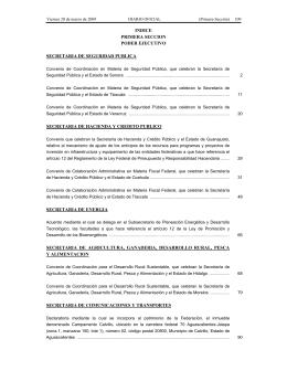 INDICE PRIMERA SECCION PODER EJECUTIVO SECRETARIA DE SEGURIDAD PUBLICA