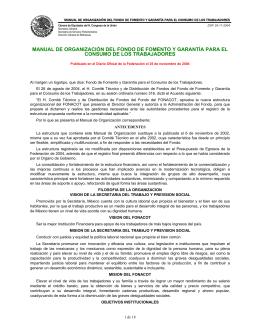 MANUAL DE ORGANIZACIÓN DEL FONDO DE FOMENTO Y GARANTÍA PARA... CONSUMO DE LOS TRABAJADORES