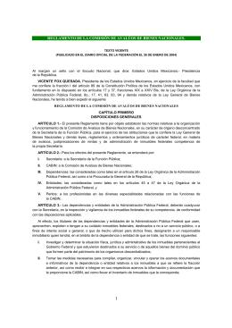 REGLAMENTO DE LA COMISIÓN DE AVALÚOS DE BIENES NACIONALES.