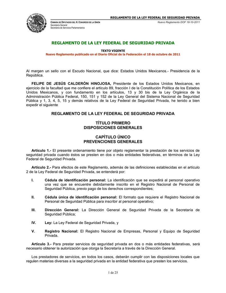 REGLAMENTO DE LA LEY FEDERAL DE SEGURIDAD PRIVADA