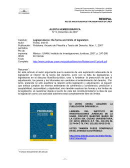 Capítulo: Legisprudence: the forms and limits of legislation.