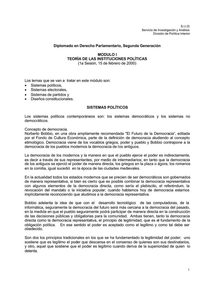 Diplomado En Derecho Parlamentario Modulo I Teoría De Las