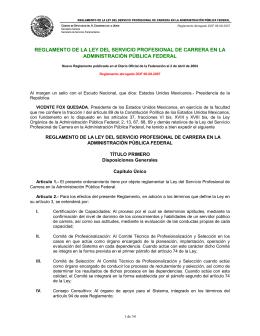 REGLAMENTO DE LA LEY DEL SERVICIO PROFESIONAL DE CARRERA EN... ADMINISTRACIÓN PÚBLICA FEDERAL
