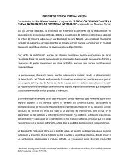"""CONGRESO REDIPAL VIRTUAL VII 2014  NUEVA INVASIÓN DE LAS POTENCIAS IMPERIALES"""""""