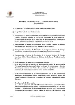 RESUMEN LA SESIÓN No. 06 DE LA COMISIÓN PERMANENTE