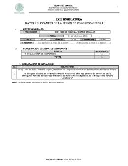 LXIII LEGISLATURA DAToS RELEvAnTES DE LA SESIón DE ConGRESo GEnERAL  1