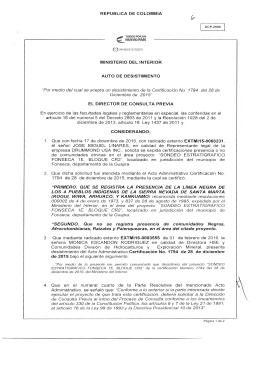 AUTO DE DESISTIMIENTO PARA EL PROYECTO: SONDEO 1E BLOQUE CR2