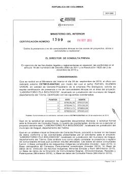 CERTIFICACIÓN 1399 DEL 8 DE OCTUBRE DEL 2015 CON RADICADO EXTMI15-0047642 PARA EL PROYECTO: LABORATORIO PLA BIOLOGICOS