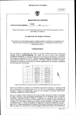 CERTIFICACIÓN 180 DEL 26 DE FEBRERO DEL 2015 CON RADICADO EXTMI15-0004702 PARA EL PROYECTO: CENTRAL HIDROELECTRICA TARAZA