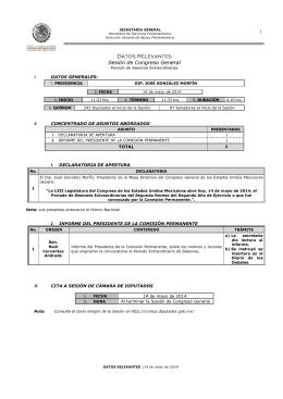 SESI N DE CONGRESO GENERAL DEL PERIODO EXTRAORDINARIO DEL SEGUNDO RECESO DEL SEGUNDO A O DE EJERCICIO, 14 DE MAYO DE 2014