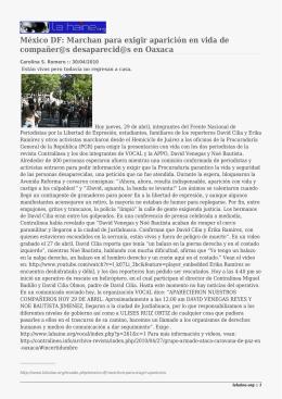 México DF: Marchan para exigir aparición en vida de