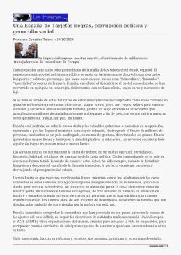 Una España de Tarjetas negras, corrupción política y genocidio social