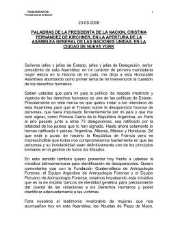 ARGENTINA - Discurso de Cristina Fern ndez