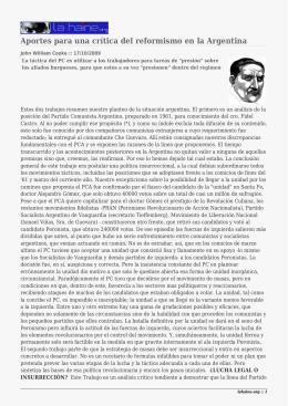 Aportes para una crítica del reformismo en la Argentina