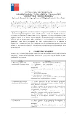 CONVOCATORIA 2016 PROGRAMA DE CAPACITACIÓN PARA FUNCIONARIOS/AS PÚBLICOS/AS EN