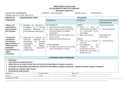 PLANEAMIENTO SEMANAL DEL 8 AL 12 DE JUNIO DE 2015