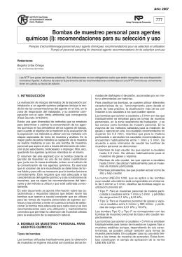 Nueva ventana:NTP 777: Bombas de muestreo personal para agentes químicos (I): recomendaciones para su selección y uso (pdf, 156 Kbytes)