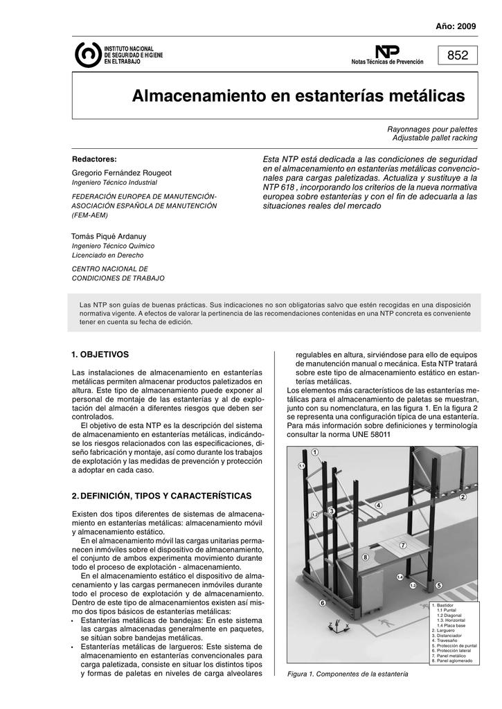 Almacenamiento En Estanterias Metalicas.Nueva Ventana Ntp 852 Almacenamiento En Estanterias Metalicas Pdf