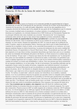 Francia: El fin de la luna de miel con Sarkozy